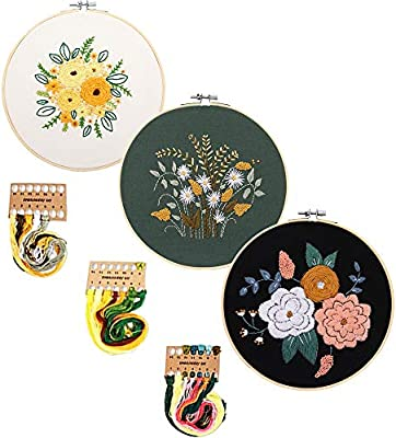 1 Embroidery Hoops Full Range of Stamped Embroidery Kits for Women Hobbies with 3 Embroidery Clothes 3 Pack DIY Embroidery Starter Kit for Beginners with Pattern and Instructions Cross Stitch Set