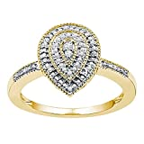 Teardrop Diamond Cluster Ring Solid 10k Yellow Gold Pear Band Round Side Stones Polished Fancy 1/10 ctw
