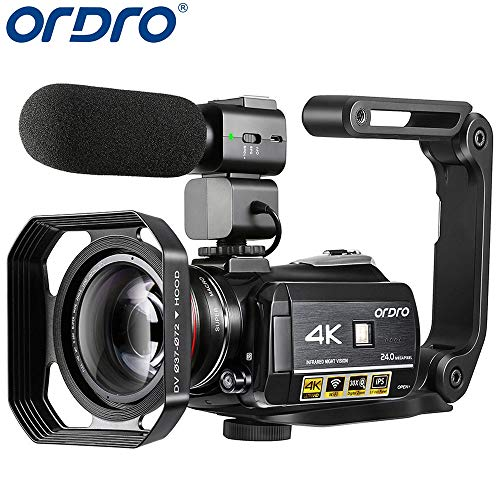 4K Camcorder, ORDRO AC3 Ultra HD Video Camera 1080P 60FPS IR Night Vision Camcorder and WiFi Camera Recorder 3.1'' IPS Touch Screen Digital Camcorders with Microphone Wide Angle Lens