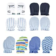 Luvable Friends Baby Scratch Mittens, Train and Stripes 8pk, 0-6 Months