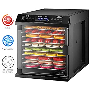 AICOOK Premium Food Dehydrator Machine, 2 In 1 Combo Mode Dehydrator with 11 Stainless Steel Trays, Digital Timer and Temperature Control for Beef Jerky, Dog Treats, Fruit, Vegetable & Herb, ETL Listed/FDA Compliant Dehydrators