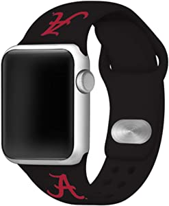 AFFINITY BANDS Alabama Crimson Tide Silicone Sport Watch Band Compatible with Apple Watch (42mm/44mm - Black)