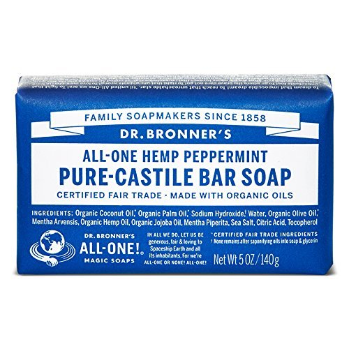 Dr. Bronner's Organic Peppermint Pure Castile Bar Soap, Unscented, 140g Dr. Bronner' s