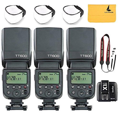 3x Godox TT600 2.4G Wireless Flash Speedlite Master / Slave Flash with Built-in Trigger System for Canon Nikon Pentax Olympus Fujifilm Panasonic+Godox X1T-N TTL 2.4 G Wireless Flash Trigger by Godox