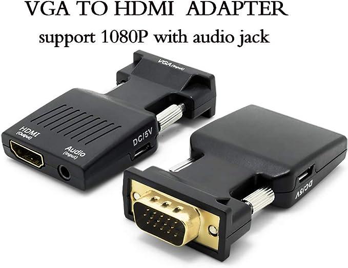 ZAIBANG - Conversor VGA a HDMI con audio (PC antiguo a un televisor o monitor con HDMI), adaptador VGA a HDMI para HDTV, ordenador, proyector con cable de audio y mini cable