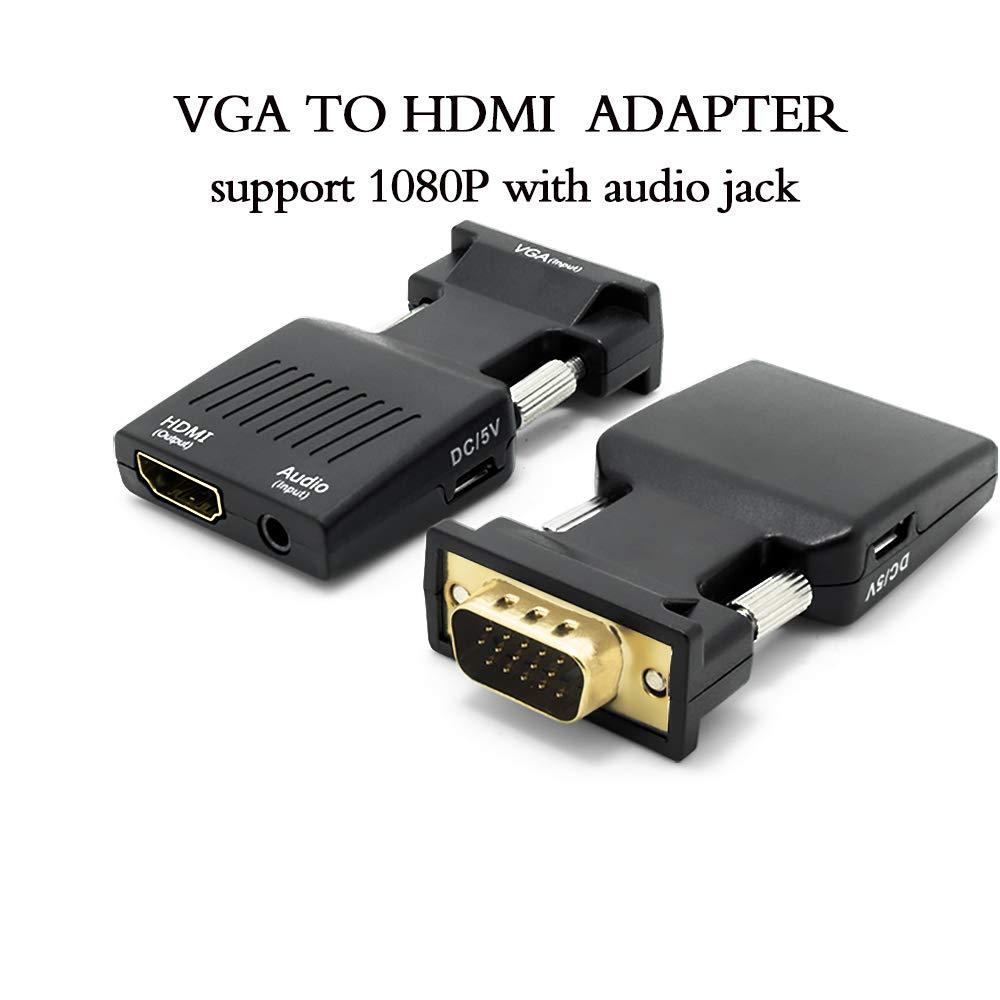 ZAIBANG - Conversor VGA a HDMI con audio (PC antiguo a un televisor o monitor con HDMI), adaptador VGA a HDMI para HDTV, ordenador, proyector con cable de ...