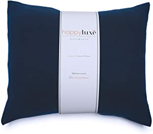 """Happyluxe Small Comfort Pillow for Men and Women, 13"""" x 18"""", Lightweight and Compressible, Eco Friendly, Neck Support, Nap, Lumbar, Recliner Cushion, Machine Wash Cover, Made in USA (Navy Blue)"""