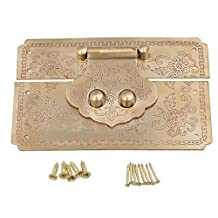 BQLZR 122x82mm Vintage Carved Flowers Brass Decorative Latch Lock Catch Hasp for Jewelry Box Wooden Box Wine Box
