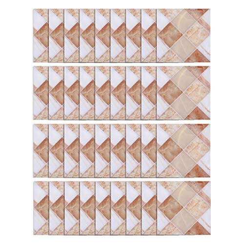 """CozyCabin 36 Units Peel and Stick Backsplash Tile Stickers 3.9"""" x 3.9"""", Frosted Decorative Adhesive Wall Decals, Murals for Kitchen, Bathroom, Home Decor, Staircase (Rhombic Marble)."""