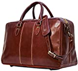 Floto Unisex [Personalized Initials Embossing] Leather Travel Bag in Brown
