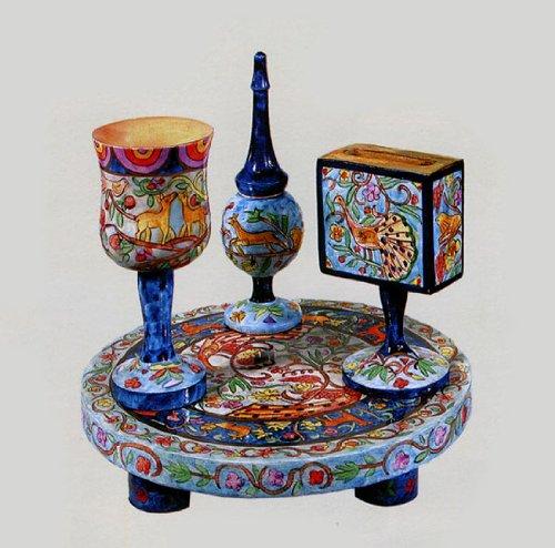 Carved Wood Havdalah Set - Oriental (Wood Havdalah Set)