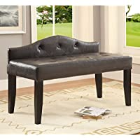 Furniture of America Huntress Crocodile Leatherette Button Tufted 42-inch Bench Brown