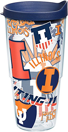 Tervis 1257896 Illinois Fighting Illini All Over Insulated Tumbler with Wrap and Navy Lid, 24oz, -