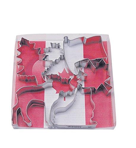 R&M International 1828 Canada Cookie Cutters, Flag, Moose, Maple Leaf, Ice Skate, Tree, Mini Leaf, 6-Piece Set