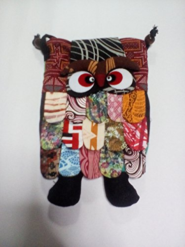 Thai Handmade Adorable Patchwork Owl Back Pack Bag Full Color