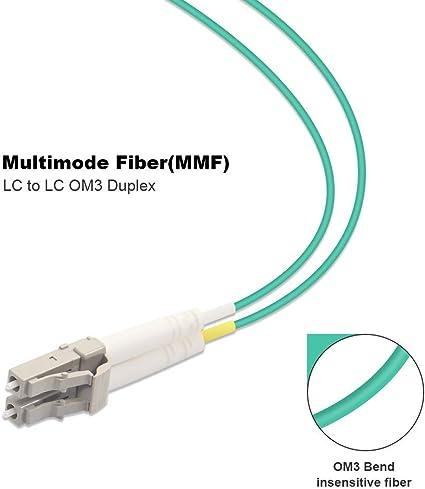 BIGtec 25mm LWL Kabel Patchkabel OM3 Glasfaser-Kabel 40Gbit Multimode 50//125/µm /Ø 2mm Jumper LC LC Stecker Duplex Aqua//T/ürkis Fiber Optic Cable