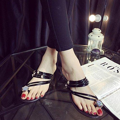 Transer 2016 1Pair Las mujeres forman las sandalias del verano del Rhinestone El talón plano de la correa de los zapatos de Flip Flop Shoes Flat Negro
