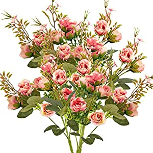 ANPHSIN 5 Branch 10 Heads Artificial Fake Flowers- Silk Plastic Vintage Rose Floral Wedding Bridal Bouquet for Home Kitchen Room Garden Party Decor (Pack of 4- Pink) 77