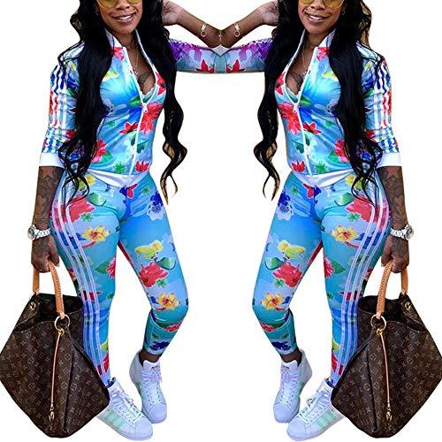 - Two Piece Tracksuit Stripes Flower Print Zip Up Crop Top Blazer Playsuit Blue 2X
