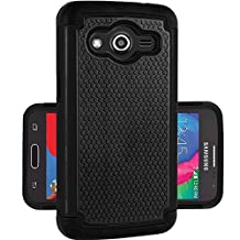 Samsung Galaxy Core LTE SM-G386W Rugged Impact Heavy Duty Dual Layer Shock Proof Case Cover Skin From theMobileArea - Black