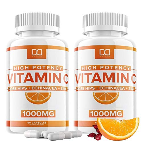 4 in 1 Vitamin C with Zinc 1000mg Capsules Supplement, Echinacea, Rose Hips for Adults Kids Immune Support, VIT C 500mg…