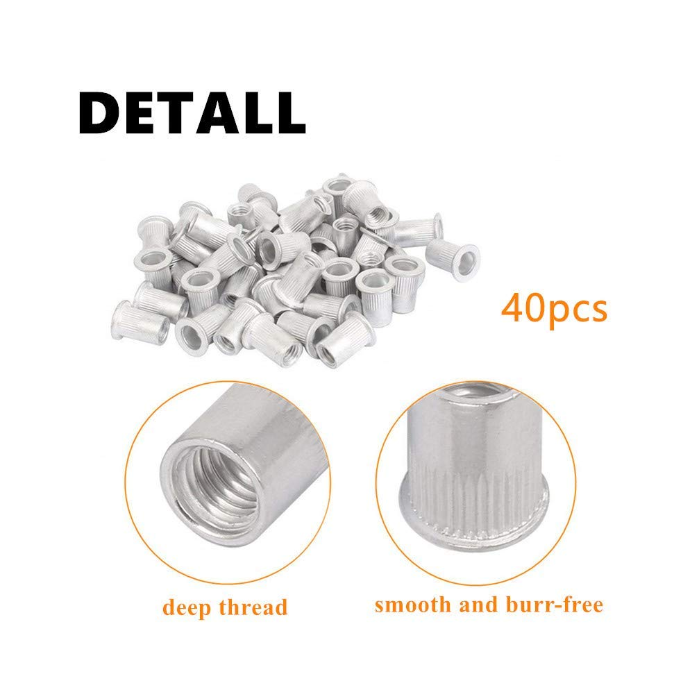 40Pcs Rivet Nut M8 Stainless Steel Hex Flat Head Insert Nutsert