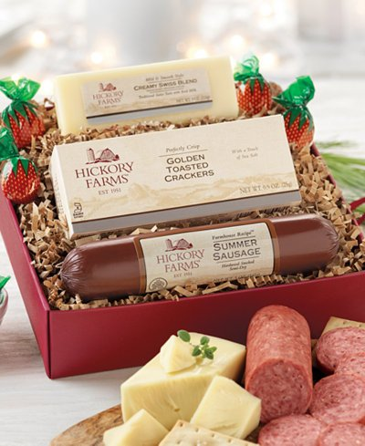 Hickory Farms Gift Set Prime Savory Sampler with Farmhouse Summer Sausage, Cheese, and Crackers - Hickory Farms Holiday Gift Pack Boxes for Christmas (Meat Gifts For Christmas)