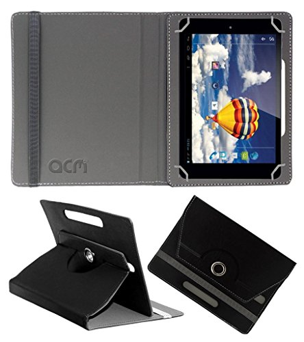 Acm Rotating 360 Leather Flip Case Compatible with Iball Slide 3g 7803 Q900 Tablet Cover Stand Black