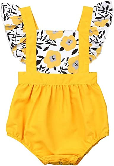Baby Girls Backless Bodysuits Toddler Infant Summer Sleeveless Sunflower Print Lace Romper GoodLock TM