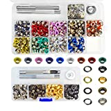 Topbuti 400 Sets Craftmemore Grommets Eyelets 3/16 Inch Kit Multi-Color and 200 Sets Grommet Kit 1/4 Inch Stainless Steel Brass Gold Black Metal Eyelet with Install Tool Kit in Clear Box (14 Colors)