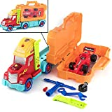 Prextex 35 Piece Take-A-Part Do It Yourself Truck Carrier Tool Box with Racing Car and Realistic Lights and Sounds Great Toy for Boys and Girls