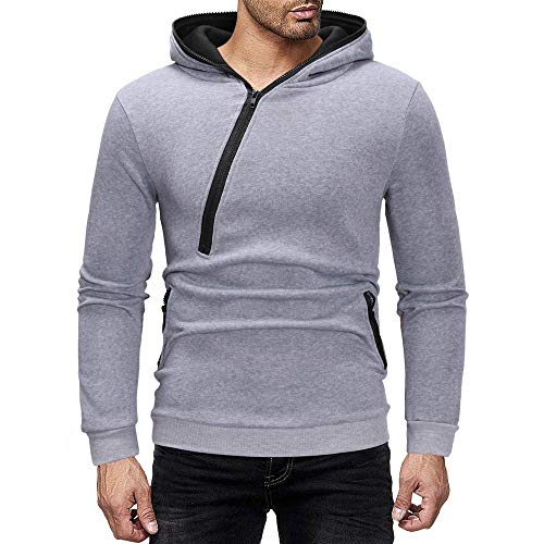 (Opeer Hot! Mens Splicing Zipper Solid Color Long Sleeve Hooded Sweatshirt Tops Pullover Blouse (Gray #3,)
