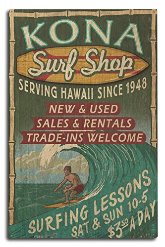 Lantern Press Kona, Hawaii - Surf Shop Vintage Sign (10x15 Wood Wall Sign, Wall Decor Ready to Hang) ()