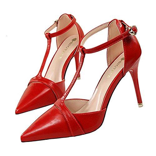 z&dw Talones de aguja retro-perforados con una correa acentuada de la t-palabra con la sandalia hueco Rojo