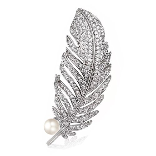 (Mondora Wedding Brooch Pin Women's Peacock Feather Simulated Pearl Cubic Zirconia Silver-Tone Clear)
