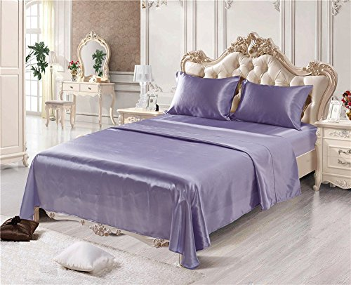 CoutureBridal Queen Satin Bed Sheet Set Lavender Cool Smooth and Silky Silk Imitation with Deep Pocket Fitted Sheet,Wrinkle,Fade,Stain Resistant,Hypoallergenic-4 Piece Sheet & Pillow Case Set