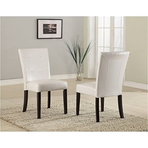 Modus Furniture 2YA466 Bossa Dining Height Parsons Chair, White Leatherette, Set of Two (Table Long Extra Dining Seats 10)