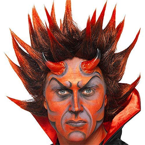 Mens Dark Red Devil Spiky Punk Wig Satan Scary Vampire Halloween Fancy Dress Costume Outfit Accessory -