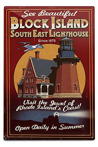 Lantern Press Block Island, Rhode Island - Lighthouse Vintage Sign (12x18 Aluminum Wall Sign, Wall Decor Ready to Hang)