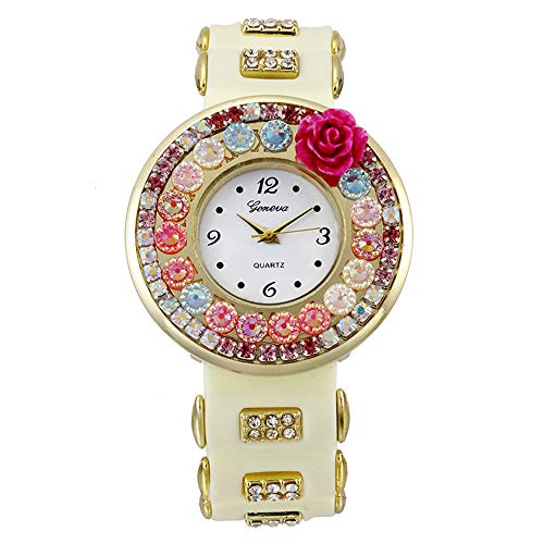 Highpot Women Girls Watches Silicone Flower Jelly Sports Analog Quartz Wrist Watch Gifts (Beige)