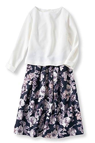 関係するストレージ維持IEDIT 上品で洗練感のある花柄スカートのドッキングワンピース〈ホワイト×ネイビー〉