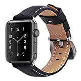 top4cus Genuine Leather Replacement iwatch Band with Secure Metal Clasp Buckle for Apple Watch (black, 42mm)