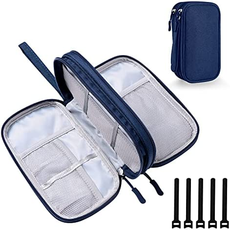DDgro Electronics Travel Organizer, Accessories Pouch Bag for Keeping Power Cord/Charger/Cables/Wireless Mouse/Kid's Pens Organized (Navy Blue)