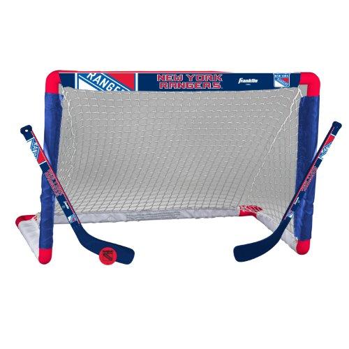 Franklin Sports New York Rangers Mini Hockey Knee Hockey Goal, Ball & 2 Stick Combo Set - 28