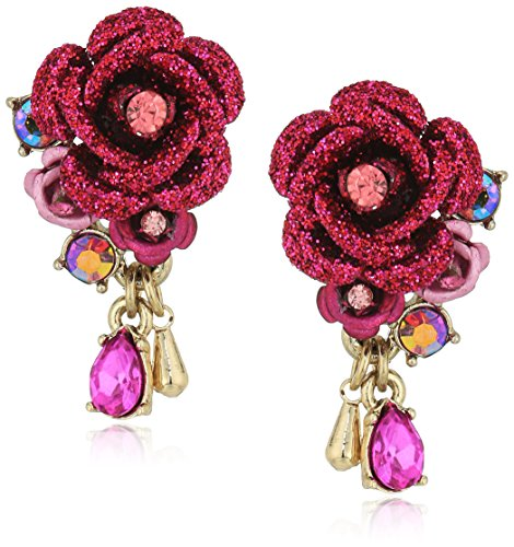 (Betsey Johnson Roses Pink Flower and Stone Earrings )