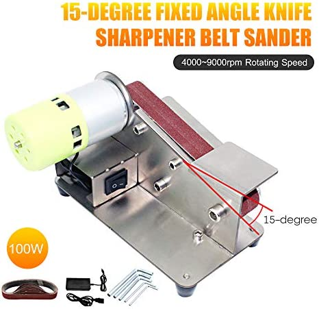 Tickas 15-Degree Fixed Angle Sharpener Belt Sander 7 Level Adjustable Polisher 100W Polishing Machine with 10pcs Sanding Belts,Fixed Angle Belt Sander