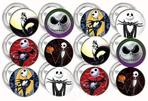 "Jack Skellington Buttons Party Favors Supplies Decorations Collectible Metal Pinback Buttons Pins, Large 2.25"" -12 pcs, Nightmare Before Christmas"