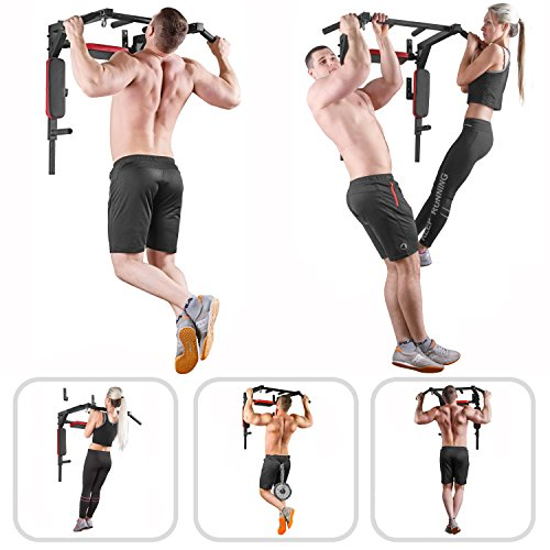 Wall Mounted Pull Up Bar - Pullup Bar Wall Mount - Chin Up Bar - Pull Up Bars and Dip Bar - Pullup and Dip Bar - Dip Station Pull Bar - Pullup Bars Outdoor and Home Room or Garage Gym Multi Grip - Pul by BAR2FIT QUALITY SPORTS EQUIPMENT (Image #2)