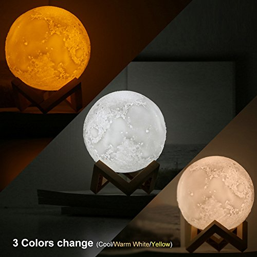 IYOUBOL a Moon Lamp, 3D Print Moon Light Night Light with Wood Stand,Yellow Warm White Cool White Dimmable Touch Control with USB Rechargeable Decorative Lights Diam 5.9 inch,0.62 lbs