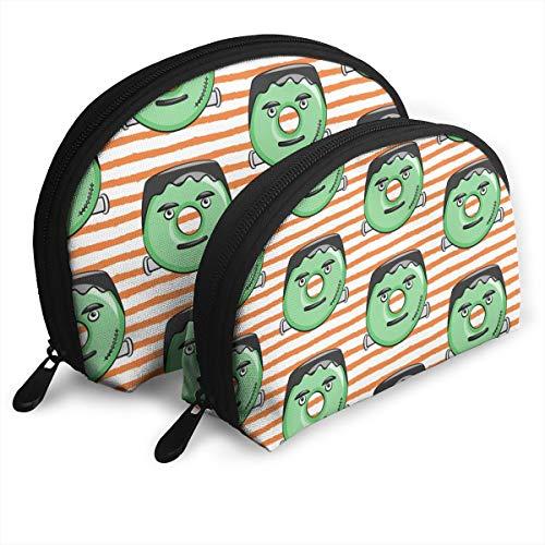 Frankenstein Donuts On Orange Stripes Halloween Cosmetic Pouch Clutch Portable Bags Handbag Organizer with Zipper -